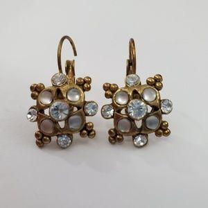 Vintage Rhinestone Earrings Gold Tone Pierced Art
